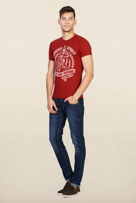 Peter England Red Graphic T-Shirt