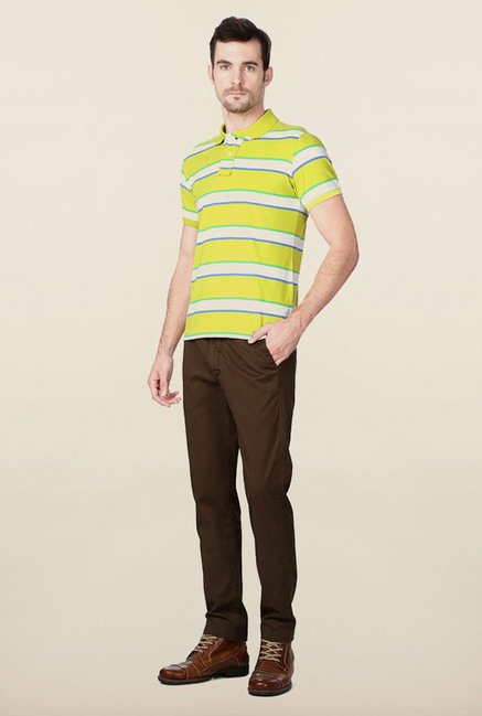 Peter England Lime Green Striped Polo T-Shirt