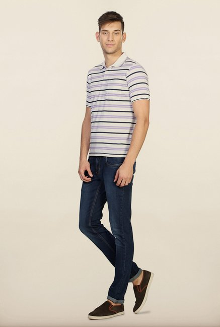 Peter England White & Purple Striped Polo T-Shirt