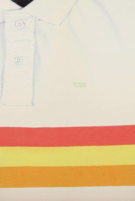 Peter England White & Yellow Striped Polo T-Shirt
