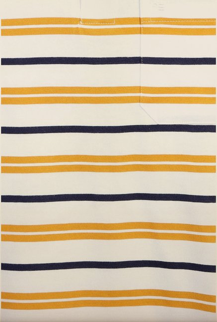 Peter England Yellow & Navy Striped Polo T-Shirt