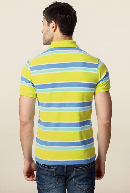 Peter England Lime Striped Polo T-Shirt