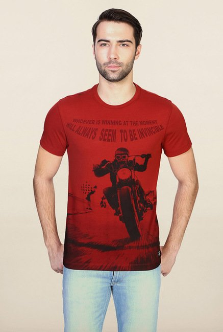 Peter England Red Graphic Print T-Shirt