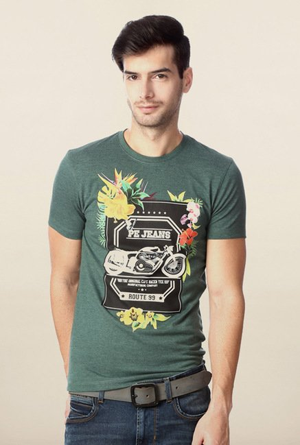 Peter England Green Graphic Print T-Shirt