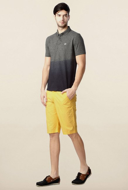 Peter England Grey Ombre-Dyed Polo T-Shirt