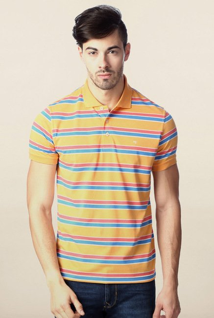 Peter England Yellow Polo Striped T-Shirt