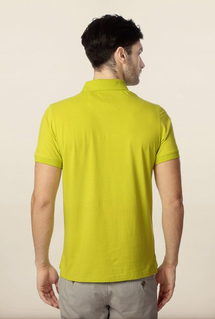 Peter England Lime Solid Polo T-Shirt