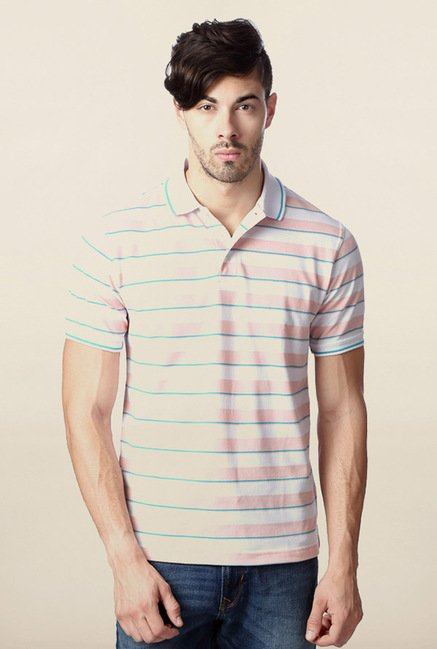 Peter England Pink Striped Polo T-Shirt