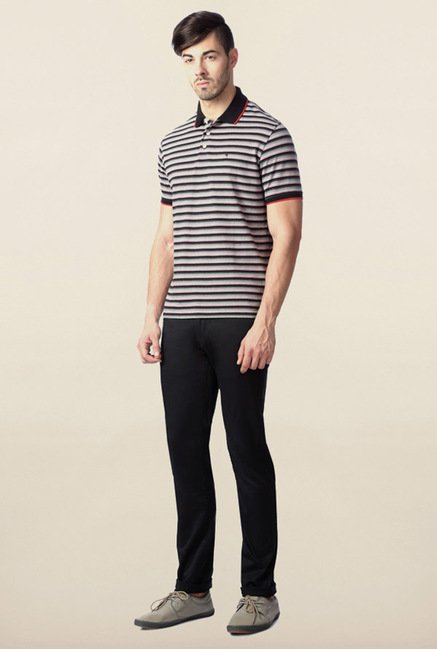 Peter England Grey & Black Striped Polo T-Shirt