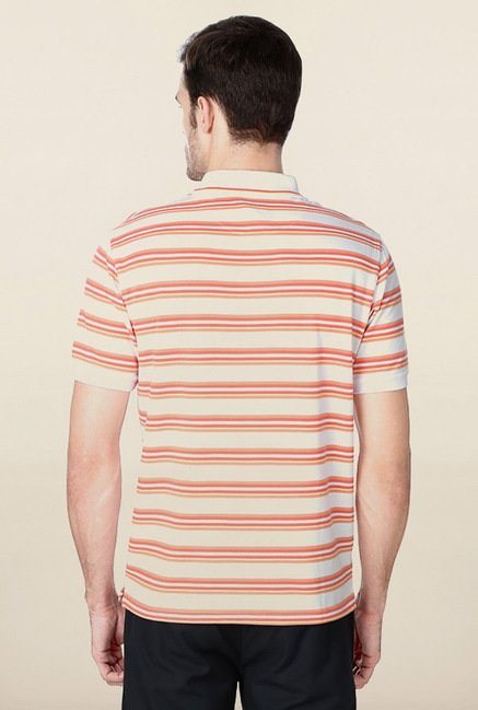 Peter England White & Orange Striped Polo T-Shirt