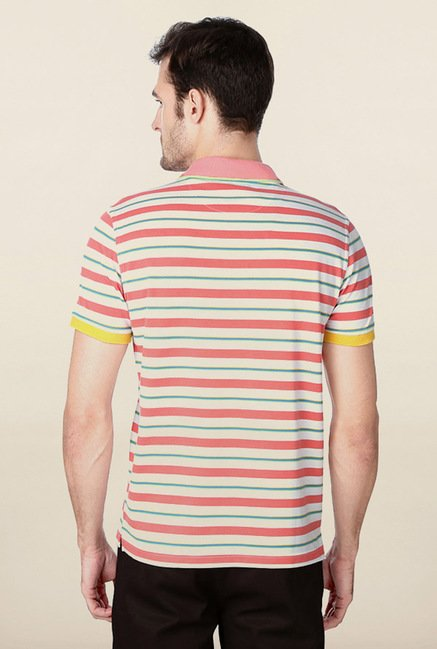 Peter England Pink & White Striped Polo T-Shirt