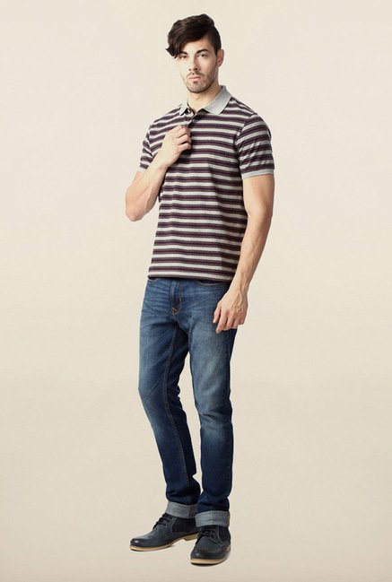Peter England Purple & Grey Striped Polo T-Shirt