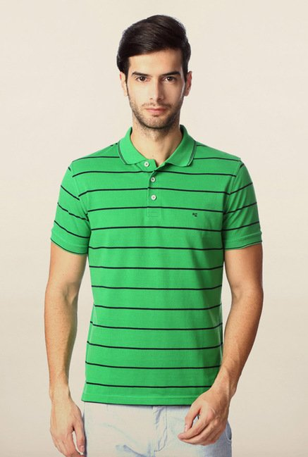 Peter England Green & Black Striped Polo T-Shirt