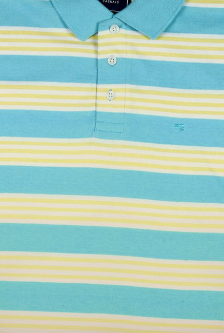 Peter England Blue & Yellow Striped Polo T-Shirt