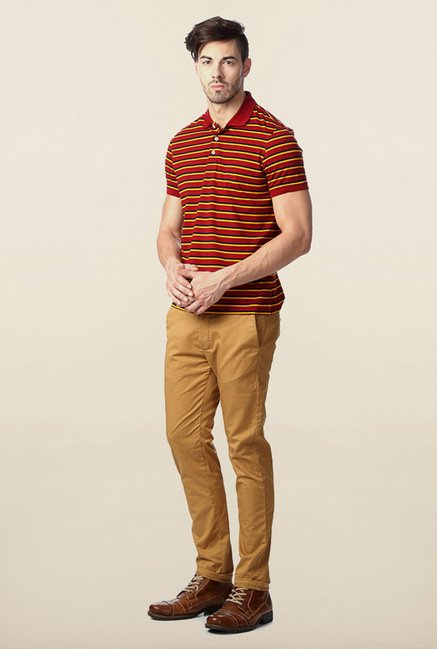 Peter England Red Striped Polo T-Shirt