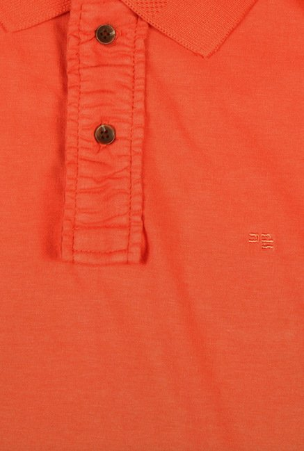 Peter England Orange Solid Polo T-Shirt