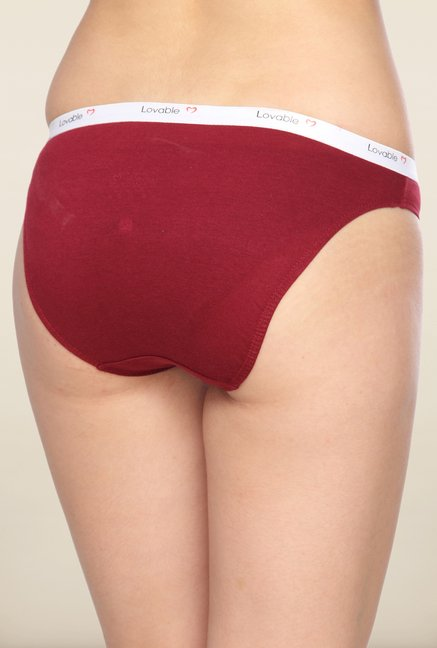 Lovable Maroon Solid Briefs (Pack of 3)