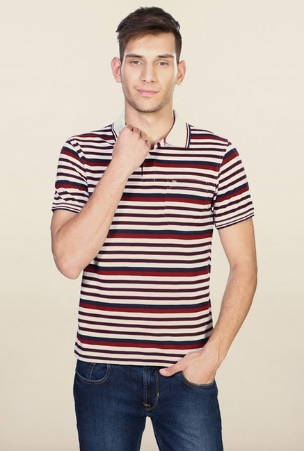 Peter England White & Red Striped Polo T-Shirt