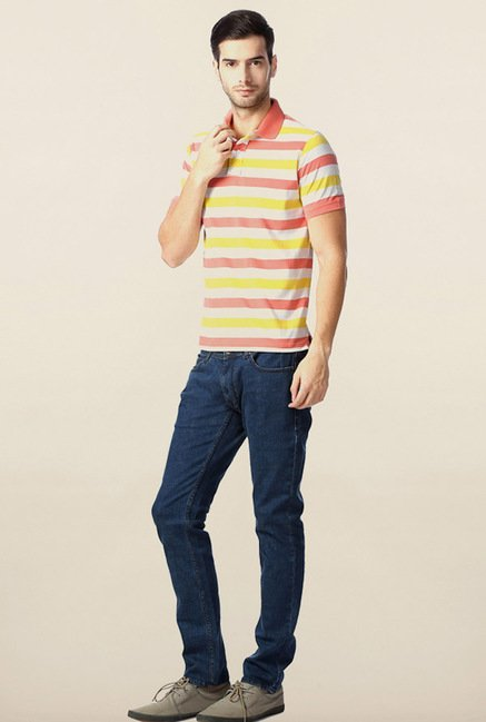 Peter England Yellow & Pink Striped Polo T-Shirt