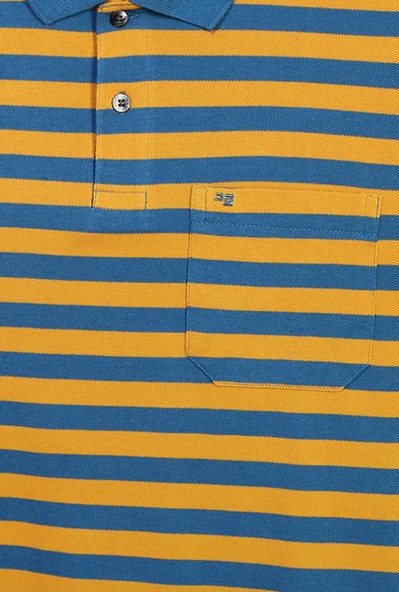Peter England Yellow & Blue Striped Polo T-Shirt