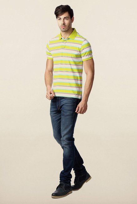 Peter England Lime Polo Striped T-Shirt