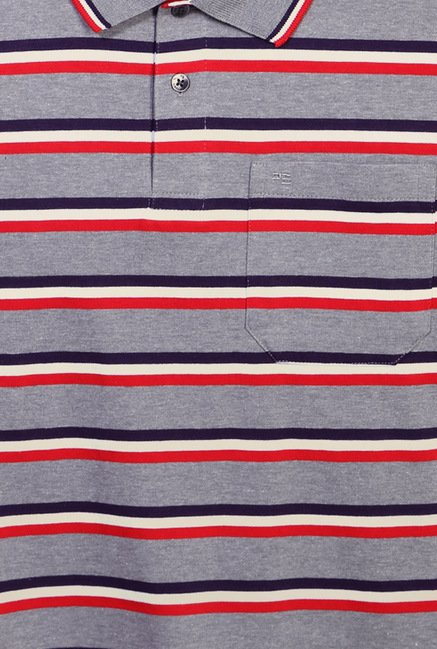 Peter England Grey Striped Polo T-Shirt