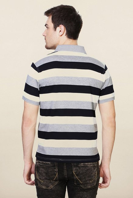 Allen Solly Grey & Black Striped Polo T-Shirt