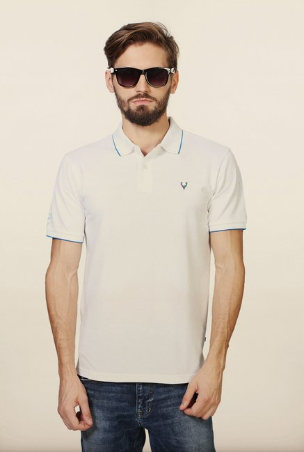 Allen Solly White Solid Polo T-Shirt