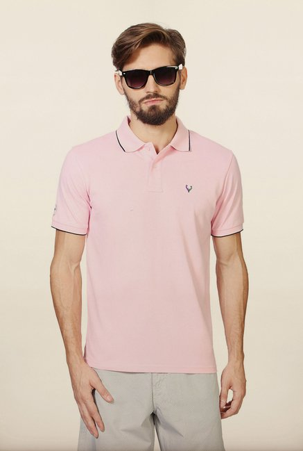 Allen Solly Pink Solid Polo T-Shirt