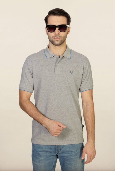 Allen Solly Grey Solid Polo T-Shirt