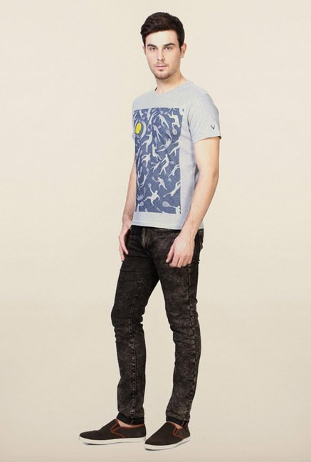 Allen Solly Grey Printed T-Shirt