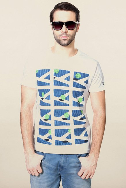 Allen Solly White Graphic Print T-Shirt