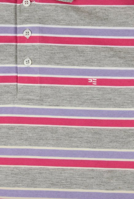 Peter England Grey & Pink Striped Polo T-Shirt