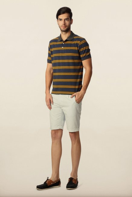 Peter England Navy & Orange Striped Polo T-Shirt