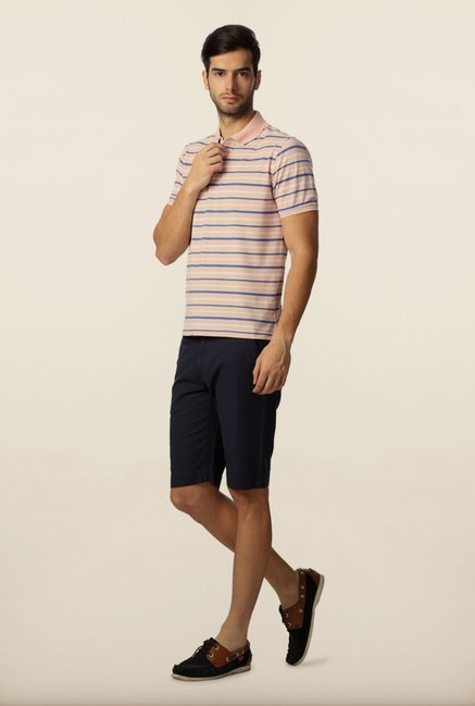 Peter England Pink & Blue Striped Polo T-Shirt