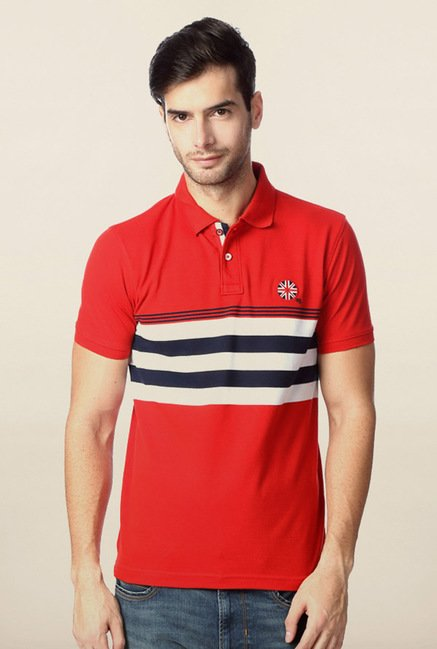 Peter England Red Slim Fit Polo T-Shirt