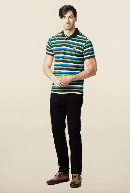Peter England Multicolor Striped T-Shirt
