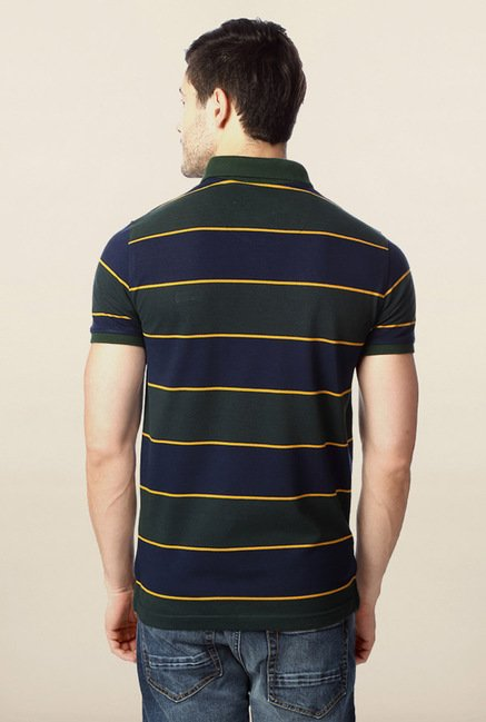 Peter England Green & Navy Striped Polo T-Shirt