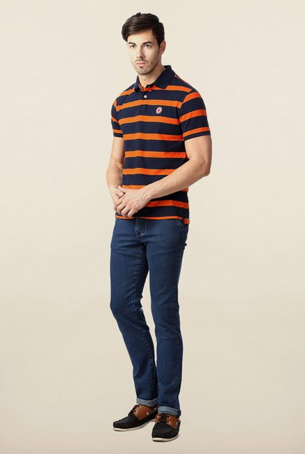 Peter England Orange & Navy Striped Polo T-Shirt