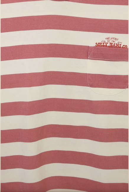 Allen Solly Pink Striped T-Shirt