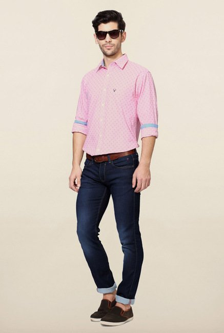 Allen Solly Pink Printed Slim Fit Casual Shirt