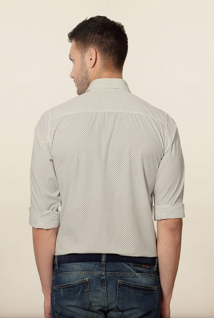 Peter England White Polka Dot Casual Shirt
