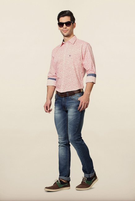 Allen Solly Pink Printed Slim Fit Shirt