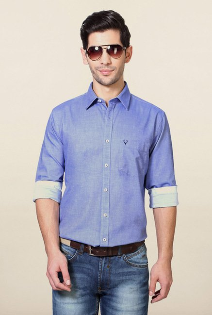 Allen Solly Blue Solid Shirt