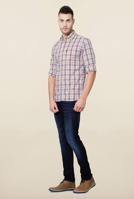 Peter England Multicolour Windowpane Checks Casual Shirt
