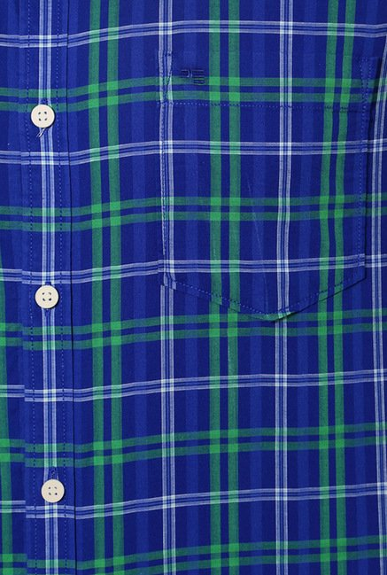 Peter England Blue & Green Checks Casual Shirt