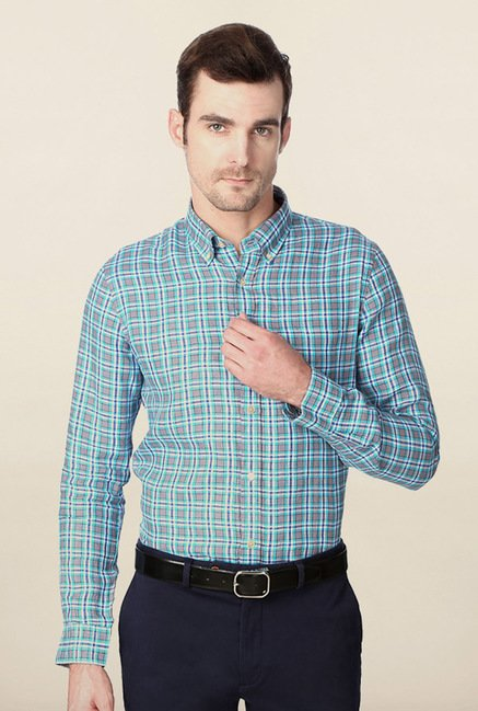 Peter England Grey Checks Shirt