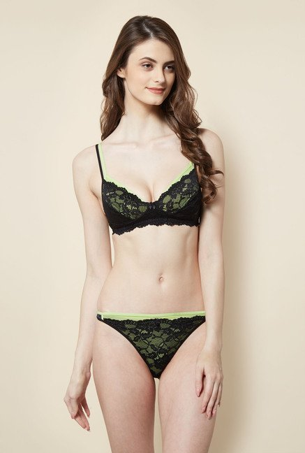 Buy Little Lacy Lime   Black Lace Lingerie Set Online at best price at  TataCLiQ f8904d32e