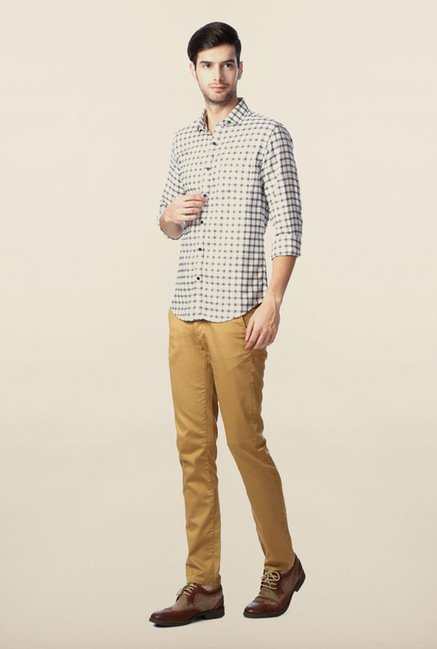 Peter England Off-White Casual Shirt
