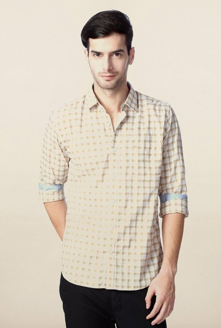 Peter England Beige Checks Shirt